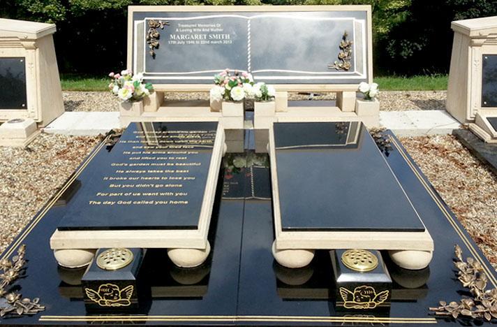 Double Grave Vault Stone Book Memorial